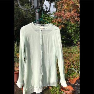 Eileen Fisher Silk seafoam green sheer tunic